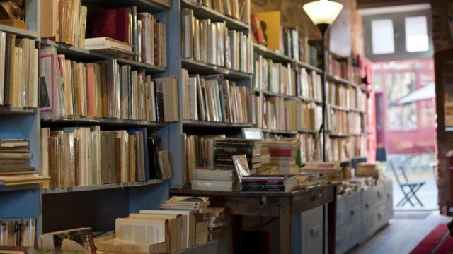 France, Ille et Vilaine (35) Becherel, la cite du livre, librairie salon de the