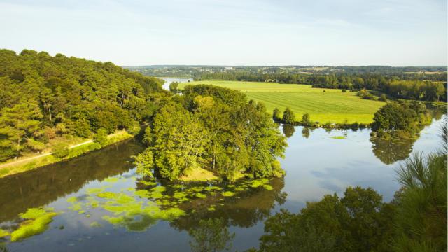 le site de l'Ile aux pies sur la riviere de l'Oust, Classe Grand Site Naturel, vue panoramique
