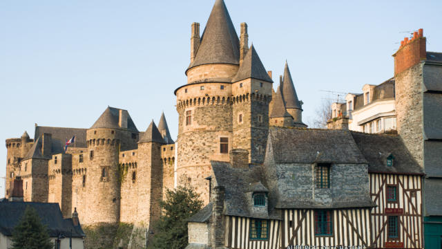 Vue sur le chateau de Vitre.Ville d'Art et d'HistoireCite d'Art.