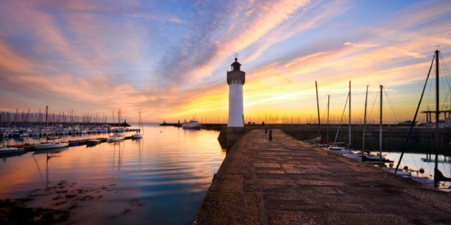 Coucher du soleil au port Haliguen