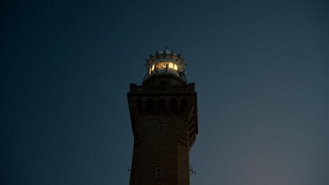 Coucher du soleil en haut du phare d'Eckmühl