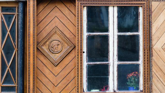France, Finistère (29), Le Faou, détail d'une maison en pan de bois, label Les Plus Beaux Villages de France, Parc naturel régional d'Armorique // France, Finistere, Le Faou, detail of a timber frame house, label The Most Beautiful Villages of France, Regional Nature Park of Armorica