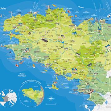Carte Bretagne Lieux Touristiques.En Autocar Tourisme Bretagne