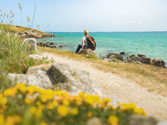 Quiberon - Pause sur la Cote sauvage entre la Pointe du Po et la Plage Saint Colomban