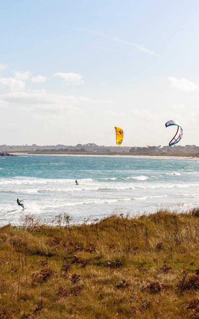 Kitesurf - dunes de Tréompan - Ploudalmézeau