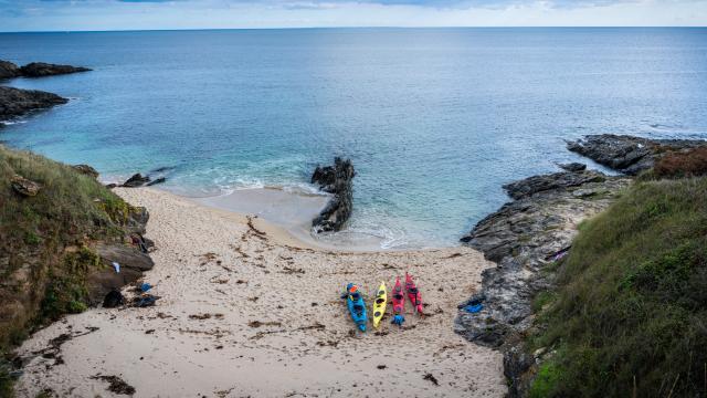 Ile de Groix - kayak sur la plage