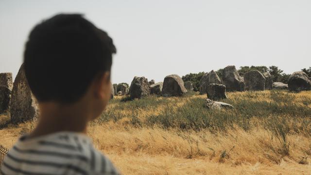Un enfant admire les mystiques Alignements de Carnac